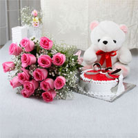 Have a look at this very special gift combo white teddy bear, 1kg pineapple round shaped cake and a bunch of 15 pink roses.