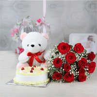 12 red roses bunch + 1kg butter scotch cake + teddy bear