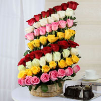 One sided Basket Arrangement 60 Mix Roses, 1Kg Dark round Chocolate Cake