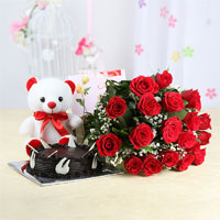 Bunch of 12 Red Roses with Matching Ribbon Bow Tied, 1kg Round Shape Dark Chocolate Cake, White Teddy Bear (Size: 6 inches), Occasion greeting card.