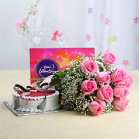 A Cadbury Celebrations Chocolate Pack, weighing 118 gms + 1/2kg round black forest cake + 12 pink roses bunch