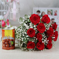 12 Red Roses, Cellophane Packing with ribbon bow, Gulab Jamun, Weight: 500 gm