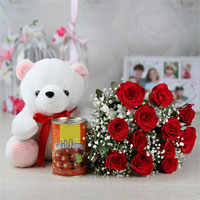 Bunch of 12 Red Roses with Matching Ribbon Bow Tied, Gulab Jamun (Weight: 500 gms), White Teddy Bear (Size: 12 inches)