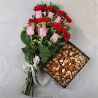 Bunch of 15 Mix Flowers with Matching Ribbon Bow Tied, Assorted Dry Fruits (Weight: 500 Gms)
