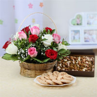 Round Basket Arrangement Of 15 Mix Red, White and Pink Roses with a ribbon bow on handle, 500 Gms Assorted dryfruits in a box and Assorted Cookies (Weight : 500 Gms)