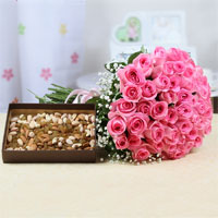 50 Pink Roses in cellophane wrapping Bunch, 500 Gms Assorted dry fruits in a box