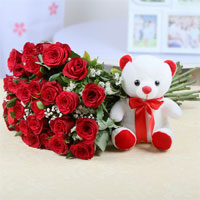 40 Red Roses in a cellophane wrapping Bunch and 6 Inch White Teddy Bear