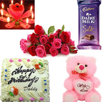 Diary Milk Silk Big Size 145gr + 1/2kg butter scotch cake + 16 Red & pinkr roses bunch + Birthday candle + 10