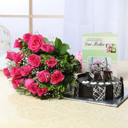 Bunch Of 15 Pink Roses+1kg Round Chocolate Cake +Greeting Card For Mom