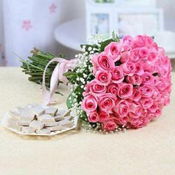 Bunch of 35 Pink Roses with 500 gm Kaju Katli Box