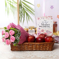 16 Pcs Ferrero Rocher Chocolate Box 10 Pink Roses bunch Basket Of 750 Gms Apples Greeting Card For Mom