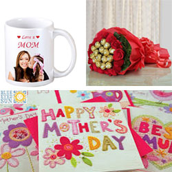 16 Red roses & 16 pcs ferrero rocher chocolate bunch Mothers day mug+ Mothers day card