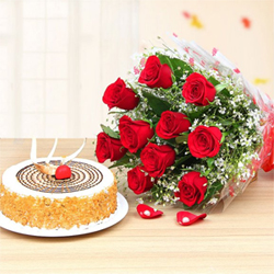 Combo of 1 kg Round butterscotch cake coupled with the 12 red roses bunch