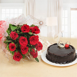 This lovely combo of 10 Red Roses beautifully wrapped and tied wit a ribbon, and one delicious 1 kg Chocolate Truffle cake