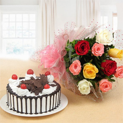 This combo that consists of a vibrant bunch of 10 Mix Roses and a truly delicious 1 kg Round Black Forest Cake