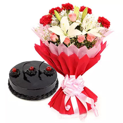 Bouquet of 2 White Asiatic Lilies, 5 Red Carnations and 5 Pink Roses