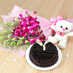 This combo consists of a bunch of 6 orchids, a 6 inch teddy and a half kg chocolate cake. Orchids stand for Love, Beauty and Refinement, the cute teddy