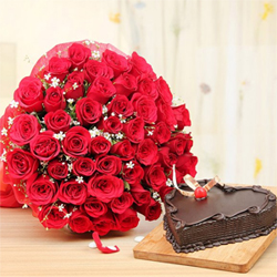 Be there love bug and remind them how special they are with a gift that sends love twice as expected One Kg Chocolate Cake  Fifty Red Roses Bunch