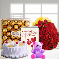 small Purple Teddy Bear,50 red roses in Yellow paper packing,24pcs Ferrero Rocher,Small Valentine Card and 500 gms Pineapple Cake This Impressive Charm combo