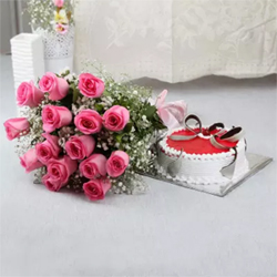 Beautiful combo of cake and flowers that comprises a one kg round shape strawberry cake and a bunch of 12 pink roses.