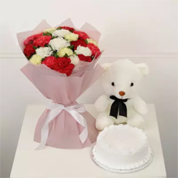 Bunch of 20 Mix Carnations with Half Kg Vanilla Cake & small Teddy