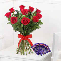 Bunch of 10 Red Roses with Cadbury Dairy Milk Chocolate 12 gms (5 units)