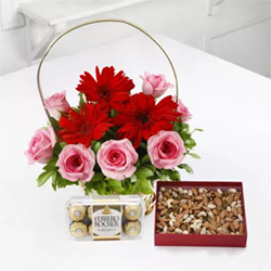 Basket of 10 Mixed Flowers With 400 Gms Dryfruits & 16pcs Ferrero Rocher chocolates