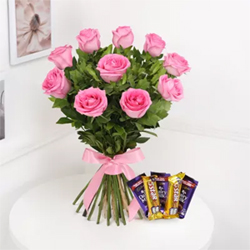 Bunch Of 10 Pink Roses Cadbury Dairy Milk Chocolate 12 gms (3 units)5 Star Chocolate 25gms (2 units)