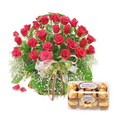 Basket of 30 Red aromatic Roses along with a box of 16 Ferrero Rocher Chocolate. Send this Gift Hamper to your loved ones in India