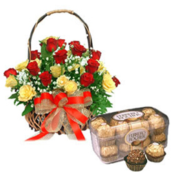 The hamper comes with 30 Red and Yellow Roses in a round shaped basket and 16 pieces Ferrero Rocher chocolates.