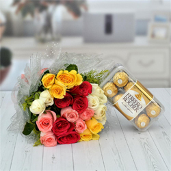 20 multicolor roses bunch (5 white, 5 red, 5 yellow and 5 pink roses), ferrero rocher - 16 pcs