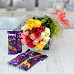 15 Multicolor roses bunch (5 white, 5 red, 5 yellow and 5 pink roses), 5pcs Dairy milk silk chocolates each one 55g