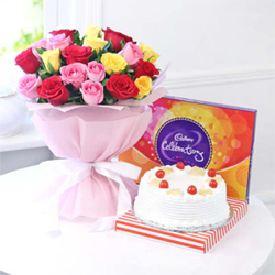 Bunch of 20 Mix Roses with Cadbury Celebrations 118gms & Half Kg round Pineapple Cake
