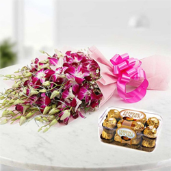 Choose this wonderful combo consisting of a gorgeous bunch of 12 orchids along-with a box of 16 scrumptious Ferrero Rocher Chocolates.