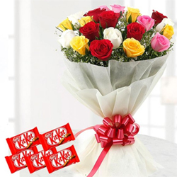 Add the beautiful hues of the rainbow and sweetness in your loved one's life 12 Mixed Roses  5 Nestle KitKat