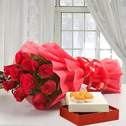 Flowers with Indian mithai makes a great gift for any occasion. Bouquet of 10 Red Roses Moti Choor Laddoo Box- 500 grams