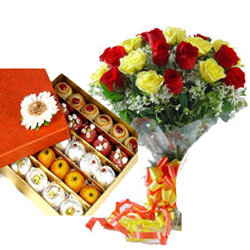 This hamper consists of a bunch of fresh 20 Red and Yellow roses in a hand tied bunch with 500 gms Kaju mixed sweets
