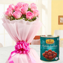 Where the delicate 12 Pink Roses are going to charm your loved ones 1 Kg Box of Haldiram Gulab Jamun