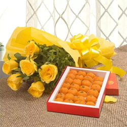 The color yellow signifies happiness and cheerful. You can brighten up your special Bunch of 10 Yellow Roses Moti Choor Ladoo 1kg