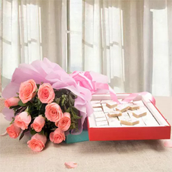 This gift combo containing a bunch of 12 pink Roses a box of Kaju Burfi 1kg makes a worthwhile gift