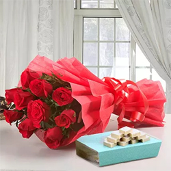 Nothing can express your feelings better than this combo of Box of Kaju Burfi - 500 grams Bouquet of 10 Red Roses