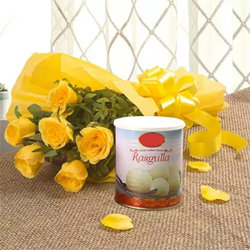 This bunch of sunlit yellow Roses is a symbol of friendship and care Bunch of 10 Yellow Roses Rasgulla 1kg