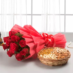 A gift that consists both beauty and health is a rare combination. 12 Red Roses bunch  1kg Mixed dry fruits basket