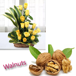 This combo is the best for amazing your loved ones on any special occasion wonderful dry fruit 250gm walnut 20 yellow rose with basket