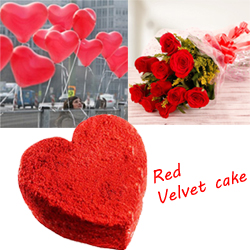 1.5kg Heart shape Red Velvet cake + 6 Red roses bunch + 25 Heart shape or round shape Balloons