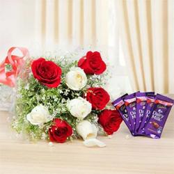 Ten Mixed Roses Five Cadbury Dairy Milk (12 gram each)