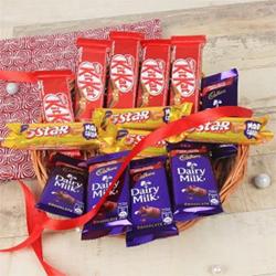 Five Kitkat Chocolates (18gm each) Five Cadbury Dairy Milk Chocolates ( 12gm each ) Four 5 Star Chocolates (19.5gm each