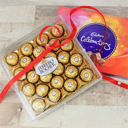 Delight someone special with the decadent collection of chocolates and hazelnut truffles One Cadbury Celebrations (121 gram) A Pack Of 24-Ferrero Rocher