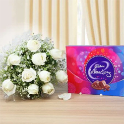 Indulge your dearest one with a collection of decadent surprises!Ten White Roses One Cadbury Celebrations ( 100g )