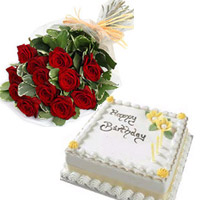 10 red roses bunch and a 1/2kg Butter Cream vanilla cake.